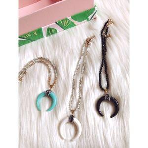Nwt beaded choker with horn pendant